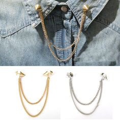 New Stud Shirts Collar Neck Tip Brooch Pin Chain Tassels Necklace Punk Gothic