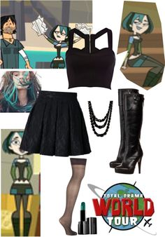 """""""Gwen from total drama island"""" by kaitlin-andujar ❤ liked on Polyvore Island Outfit, Total Drama Island, Island Pictures, Character Inspired Outfits, Casual Cosplay, Funky Outfits, Rocker Style, Favorite Tv Shows, Disney Bound"""