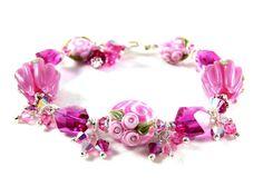 Hot Pink Bracelet Pink Lampwork Bracelet by GlassRiverJewelry, $141.00