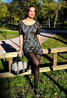 Lace dress with black nylons is the perfect outfit for any day of the year!