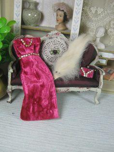 Fuchsia velvet dress with rhinestones and bag di Bluesmini su Etsy