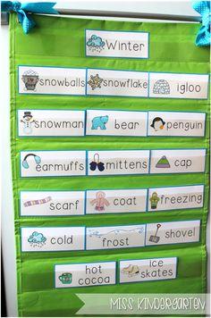 Miss Kindergarten {Winter Word Cards}