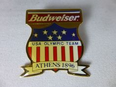 1996 Atlanta Budweiser Beer 1896 Athens Historic Olympic Pin USA Team Bud Rings