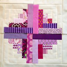 quilt blocks - log cabin in purples. For Anneysa?  Instead of cream, I can use yellow broadcloth on every block!!!  Genius!