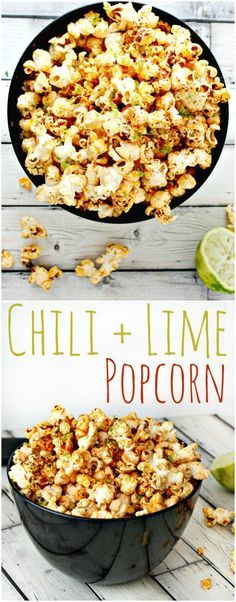 Homemade Chili and Lime Popcorn.  This easy popcorn recipe is perfect to mix up your traditional family movie night. With only a few steps, you'll love making this delicious mouth watering popcorn snack.