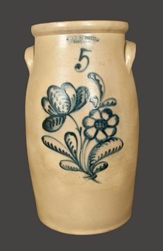 5 Gal. JOHN BURGER / ROCHESTER Stoneware Churn with Elaborate Slip-Trailed Floral Decoration -- July 20, 2013 Stoneware Auction by Crocker Farm, Inc.