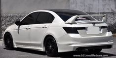 Modified Honda Accord (8th generation) 2.4l Sedan (white painted) with Mugen body kit, black roof top and rear wing