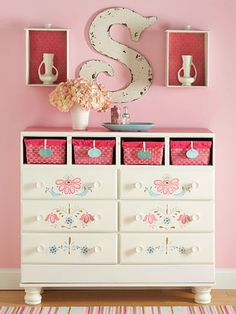Great idea for Floral Chest in Studio. Perfect color scheme and stencil is free. Floral Stenciled Dresser Nondescript wood dressers can often be found for rock-bottom prices at garage sales. To give them a dose of character and contemporary styling, cover the top in color and embellish the fronts with stencils. Removing drawers in favor of lined and labeled baskets is another easy way to add color and charm.