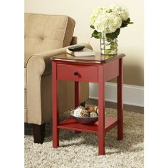 "Online $59.00.10 Spring Street Hinsdale Side Table, Red.16""L x 16""W x 24.3""H....fish lamp on it"