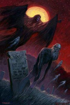 Fantasy Art by Paul Carrick Don't Fear The Reaper, Grim Reaper, Dark Gothic, Gothic Art, Arte Horror, Horror Art, Scary Art, Creepy, Paul Carrick