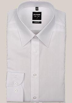 OLYMP Level 5 Hemd Langarm mit Long Kent Kragen in Uni weiß