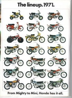 Vintage Motorcycles 1971 - The Honda Motorcycle Lineup - From Mighty To Mini! Motos Vintage, Vintage Bikes, Vintage Cars, Vintage Cycles, Vintage Honda Motorcycles, Honda Bikes, Vespa, Motos Trial, Honda Powersports