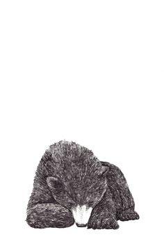<3 bear love art print sketch