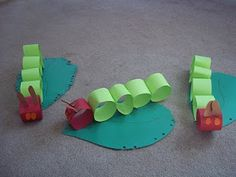Very Hungry Caterpillar kids craft or for kids party, simple paper caterpillar birthday event