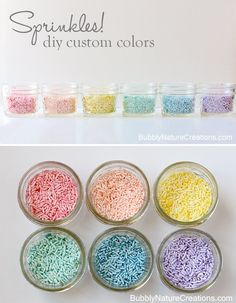 Dye your own Sprinkles for endless color possibilities!  So easy and economical too!  #Sprinkles #DIY #CustomColoredSprinkles