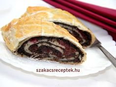 Cherry and poppy seed strudel made of puff pastry Poppy Seed Filling, Frozen Puff Pastry, Puff Pastry Recipes, Classic Desserts, Sweet Cherries, Let Them Eat Cake, Sweet Recipes, Poppies, Sweet Tooth