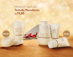 Presente Natura Tododia Macadâmia - Sabonete + Creme de Banho + Hidratante + Creme para as Mãos + Creme para os Pés + Embalagem Desmontada
