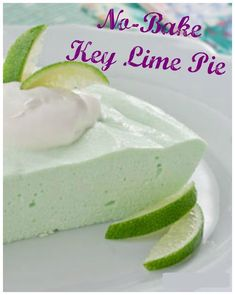 This easy recipe for No-Bake Key Lime Pie is kind of like a creamy, chilled, key lime cheesecake. Each serving is low calorie calories) and low-carb Nutrition is included at the bottom of the recipe. calorie food No-Bake Key Lime Pie Desserts Pauvres En Calories, Desserts Keto, Low Calorie Desserts, No Calorie Foods, No Bake Desserts, Low Carb Recipes, Key Lime Dessert Recipes Healthy, No Bake Key Lime Pie Recipe, Snacks