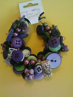 Grape wine button bracelet by CRAZYBUTTONDESIGNS13 on Etsy, $14.00