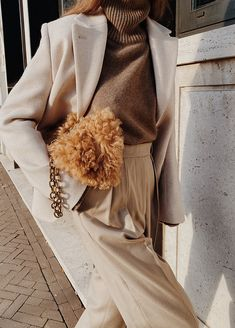 And Other Stories Wool Oversized Blazer , The Bazilika Cashmere Turtleneck Jumper , Arket Wool Flannel Trousers , Carolina Santo Domingo Shearling Bag Yves Saint Laurent, Oversized Blazer, Winter Mode, Cashmere Turtleneck, Autumnal, Sweater Weather, Nudes, Autumn Winter Fashion, Fall Outfits
