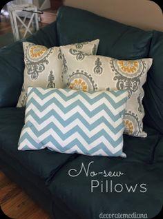 Decorate Me Diana: No-Sew Pillows  Como fazer almofadas sem costurar