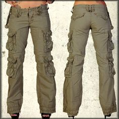 Jetlag Victoria Military Pocket Women's Long Cargo Pants in Khaki / Olive Green