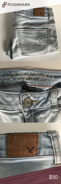 American Eagle Super Stretch Jeans Jeggings Excellent preowned condition American Eagle Super Stretch Jeans Light Wash. Size 10. Jeggings.  ✅ Offers ✅ Bundle & Save!  ✅ Fast Shipping American Eagle Outfitters Jeans Skinny