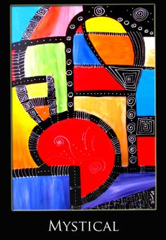 Title: Mystical  - Medium: Mixed media - Support: canvas, black painte...