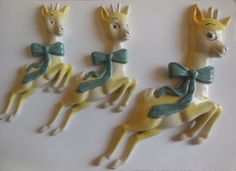 Babycham Very Rare 1960 s Graduating Ceramic Bambi Wall plaques ( Version ) Christmas Time, Christmas Ornaments, Oh Deer, Wall Plaques, Bambi, Vintage Beauty, Kitsch, Wander, Nostalgia