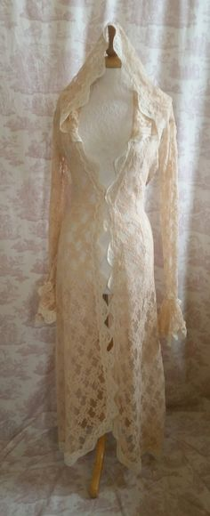 Vintage Hooded Lace Steampunk Duster Coat  Wedding Bridal ROMANTIQUE VINTAGE By Ophelias Folly by OpheliasFolly on Etsy https://www.etsy.com/listing/225110585/vintage-hooded-lace-steampunk-duster