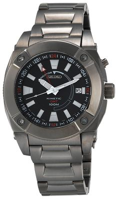 Amazon.com: Seiko Men's SUN007 Kinetic GMT Black Ion Watch: Seiko: Watches