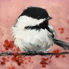 Chickadee painting, Original impressionistic oil painting of a Chickadee on a branch with red berries, 5x5 on panel, lovely pink colored background  Small wooden easel included!  Professional art board is 1/8 thick. These small paintings are best displayed on an decorative easel or can be easily and inexpensively framed using a standard photo frame (minus the glass or with a matte) Artwork is photographed and the image is adjusted to match the original painting as close as possible. If y...
