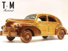 Peugeot Car - Handcrafted Mahogany Wooden Model Car - Wood Art