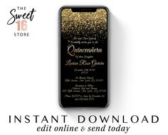 Quinceanera Phone Invitation, Text message SMS Invitation, Chic Black & Gold Glitter Digital WhatsApp e vite Quinceanera Invitation Template Text Message Invitations, Invitation Text, Sweet Text Messages, Phone Messages, Boyfriend Texts, Boyfriend Quotes, Guy Best Friend, Sweet Texts, Cute Couple Quotes