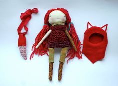 Little red fox girl Little Lu style doll 13ish rag by humbletoys