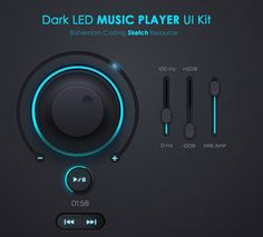 Download Free Dark LED Music Player UI Kit PSD under the free Media Player, Recommended Graphic Design Resources category(ies) at TitanUI.CoM!