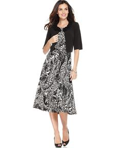 Jessica Howard Dress and Cardigan, Sleeveless Belted Paisley Printed A-Line