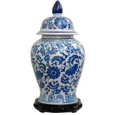 Porcelain-18-inch-Blue-and-White-Floral-Temple-Jar-China