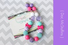 Chunky necklace, Doc McStuffins, Birthday necklace, gumball Disney necklace, stripe jewel baby toddler necklace photography prop