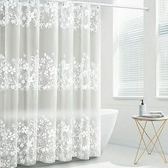 Waterproof PEVA Bathing Shower Curtain Bathroom Curtains With Plastic Hooks Kit Shabby Chic Shower Curtain, Floral Shower Curtains, Bathroom Shower Curtains, Big White Flowers, Transparent Design, Semi Transparent, Chic Bathrooms, Country Bathrooms, Showcase Design