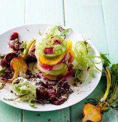 A delicious, healthy and colourful Ostrich Carpaccio dish with fresh apple, candy stripe beetroot and kohlrabi salad Game Salad, Meat Recipes, Salad Recipes, Ostrich Meat, Biltong, Fresh Apples, Apple Candy, Beetroot, Food Dishes