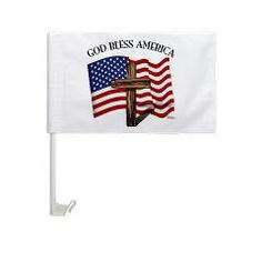 God Bless American With US Flag and Rugged Cross Car Flag   •   This design is available on t-shirts, hats, mugs, buttons, key chains and much more   •   Please check out our others designs at: www.cafepress.com/TsForJesus