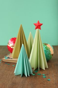 Accordion paper trees from A Field Journal.