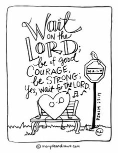 the courage to wait + Psalm 27:14 Bible verse coloring page (Spanish + English): Marydean Draws