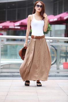 Romantic Khaki Pretty Linen Bud Long Maxi Skirt - NC341