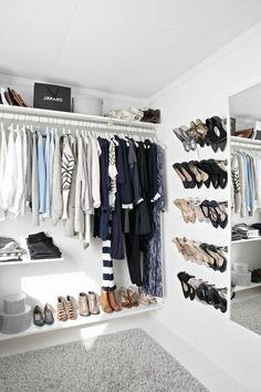 dressing room, open wardrobe, wall shoe storage Source by khimsabine Wardrobe Room, Walk In Wardrobe, Wardrobe Closet, Wardrobe Design, Closet Bedroom, Walk In Closet, Bedroom Storage, Furniture Storage, Wardrobe Ideas
