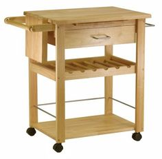 Winsome Beechwood Kitchen Cart with Wine Rack by WINSOME. $159.76. Width 20.47. Length 36.34. Assembly Required Yes. Style Mission. Height 34. Winsome Beechwood Kitchen Cart with Wine Rack is the easy way to add work space to your kitchen... GREAT PRICE! It's simple: more counter-top means less clutter. This Beechwood Kitchen Cart adds 5 square feet of valuable countertop space to keep you organized and cooking up the storm even on the largest meals. You also get loads more stor...