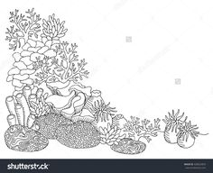 Illustration about Coral sea graphic art black white underwater landscape illustration vector. Illustration of image, draw, scene - 72144919 Underwater Tattoo, Underwater Drawing, Pencil Drawing Tutorials, Pencil Drawings, Pencil Sketching, Drawing Tips, Tattoo Fundo Do Mar, Coral Reef Drawing, Sea Drawing
