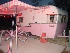 "pink camper the only way to go ""Glamping"" Vintage Rv, Vintage Caravans, Vintage Travel Trailers, Look Vintage, Retro Trailers, Camper Trailers, Vintage Pink, Motorhome, Pink Trailer"