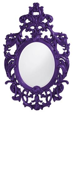 "Wall Mirrors, 51"" Tall Classic Baroque Mirror, Purple High Gloss Lacquer,"
